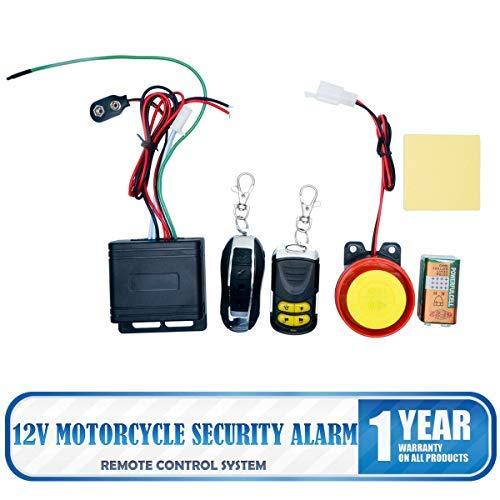 MASO Sistema de alarma universal de motocicleta de 2 vías 125DB 12V motocicleta sirena sistema de alarma de seguridad control remoto antirrobo