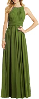 Uther Women Fashion Pleated Chiffon Sleeveless Floor Length Evening Prom Dress