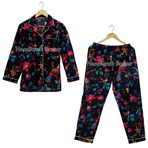 Handicraft Bazarr Vestido de noche de algodón Minnie Mouse vestido de noche conjunto de bloque de mano floral de algodón para dormir, vestido para mujer, talla S