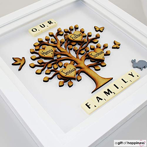 Scrabble Gifts - Family Tree Picture Frame - Personalised Gift