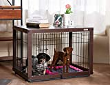 SIMPLY + Wood & Wire Dog Crate, Pet Crate End Table, Wooden Dog Cage House, Dog Kennel Indoor Wooden Crates Bed Side Furniture with Dog Pad for Small Medium Pets, Chew-Proof