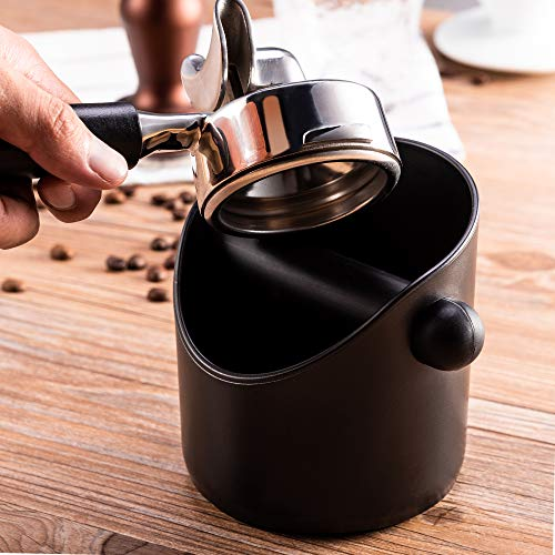 Espresso Knock Box Shock-Absorbent Durable Barista Style Coffee Knock Box Container Anti Slip Coffee Grind Dump Bin Waste Bin