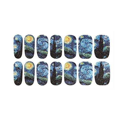 Pixnor 1 feuille Nail Wraps ciel étoilé mystérieuse nuit à motifs ongles complet autocollant