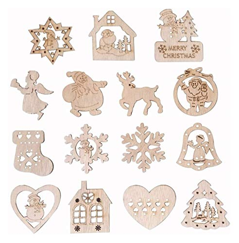 XIAOGING 15Pcs in Legno Albero di Natale Set Decoration, Xmas Tree Ornament, Hanging ciondoli a Tema di Natale