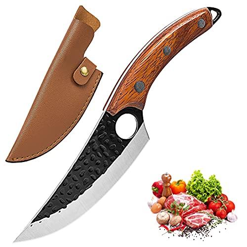 Promithi cuchillo serbio de cocina multiusos, cuchillo profesional, cuchillo universal, cuchillo picador, cuchillo de chef japonés de Damasco, cuchillo de cocina, mango de madera (marrón)