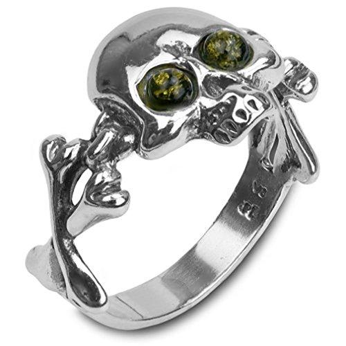 Noda anillo de plata para hombre con ámbar teñido verde bandera pirata talla 27