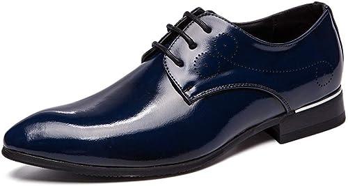 MMJ Herrenschuhe, Herrenschuhe Glossy Pointed Hairstyle schuhe Personalisierte Nightclub Schuhe,b,43