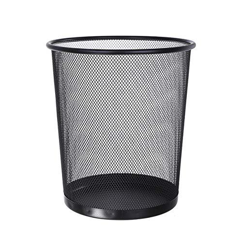 Bote de Basura Circular de Malla metálica, cesto de Basura de Hierro, Recipiente de Cocina, cesto de Papel de Oficina doméstico Creativo sin Tapa - Negro, 5