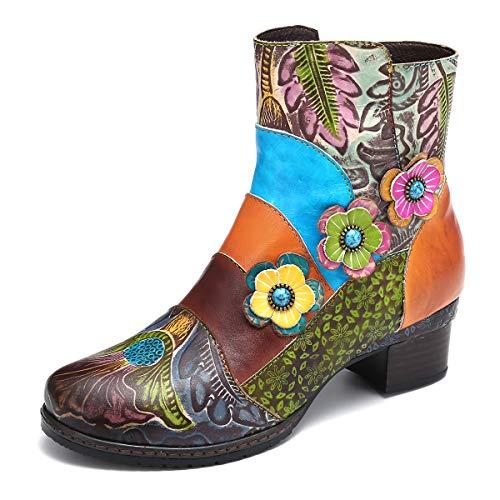 gracosy Damen Stiefeletten mit Absatz, 2019 Leder Blumen Winter Stiefel Bunt Bohemian Ankle Boots Handgefertigte Vintage Bequeme Winter Schuhe Spleißen Draußen Mode Wanderschuhe Schuhe