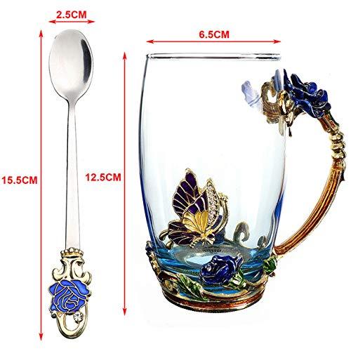 Schönheit und Neuheit Emaille Kaffeetasse Becher Blume Tee Glas Tassen für heiße und kalte Getränke Tee Tasse Löffel Set perfekte Hochzeitsgeschenk