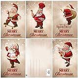 EDITION COLIBRI 11091-95 - Set di 15 biglietti di Natale divertenti, 5 motivi x 3 = 15 biglietti di auguri in formato A6 (14,8 x 10,5 cm) in stile retrò/vintage