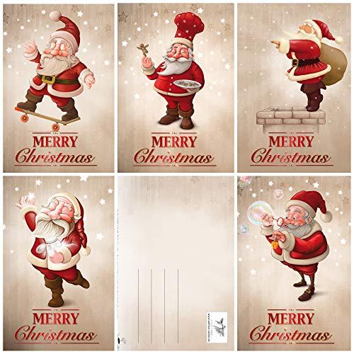 15 Lustige Weihnachtskarten/Set mit 5 witzigen Weihnachtsmann-Motiven / 5 Motive x 3 = 15 Grusskarten im A 6 Format (14,8 x 10,5 cm) im Retro/Vintage-Stil von EDITION COLIBRI (11091-95)