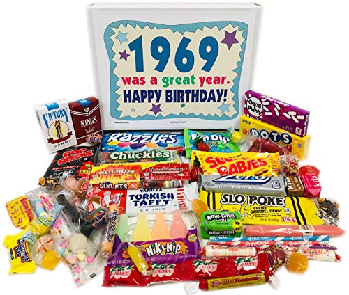 Woodstock Candy 1969 Retro Candy Assortment 51st Birthday Gift Box from Childhood for 51 Year Old Man or Woman Born 1969
