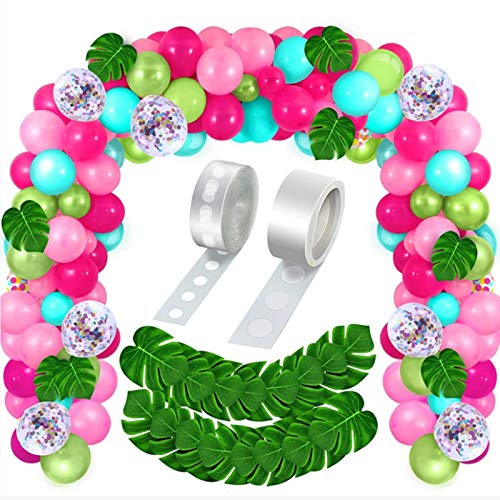 120 Pieces Flamingo Hawaiian Tropical Balloon Arch Garland Kit Luau Jungle Party Confetti Latex Balloons with 20 Palm Leaves Strip Dots(Rose Red, Light Pink, White, Transparent, Gold)