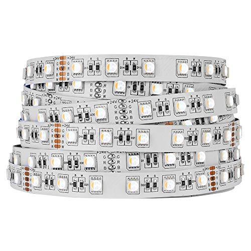 BTF-LIGHTING 5050 RGBW RGB + Blanco Cálido (2700K-3000K) 4 Colores en 1 LED 16.4ft 60LEDs / m LED Multicolor Tape Lights IP30 No Impermeable Blanco PCB LED DC24V
