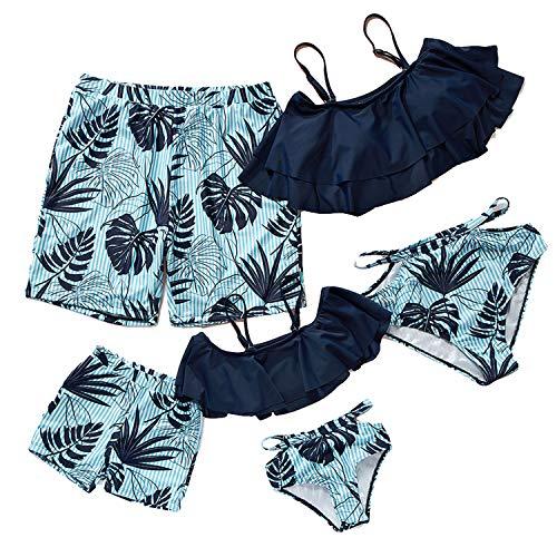 mama stadt Familie Badeanzug Matching Swimsuits Blätter Drucken Bademode Mutter und Tochter Bikini 2pcs,Vater und Sohn Badehose Badebekleidung