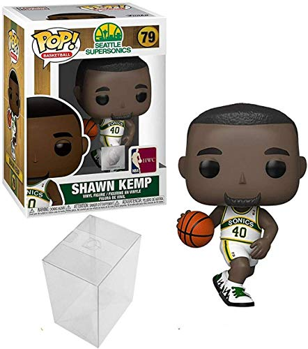 Shawn Kemp Seattle Supersonics - Figura de acción deportiva de la NBA con protector de pop para proteger la caja de exhibición