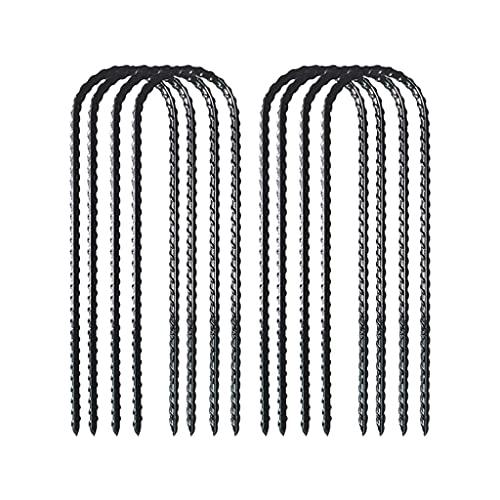 Diaod DIAODIO Trampolines Estacas de Viento Negro Polvo Recubierto Rebar Steel-Heavy Forma U Anchors Anchors para Camping Tent-Garden Grapa (Color : 8 Pcs)