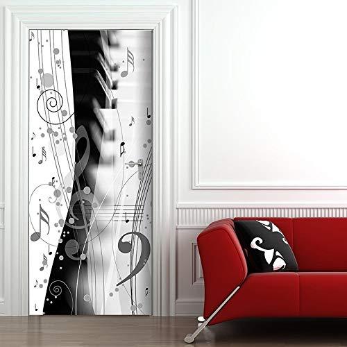 koigjh Art 3D Renew Picture Selbstklebende Note Piano PVC Wandbild wasserdichte Türaufkleber Home Decor Wallpaper Für Schlafzimmer