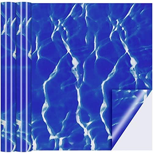 Nuanchu Parche de Vinilo de Revestimiento de Piscina Parche de Reparación de PVC Autoadhesivo de Piscina Rectangular para Piscinas Bote Inflable, Azul (12 x 80 Pulgadas)
