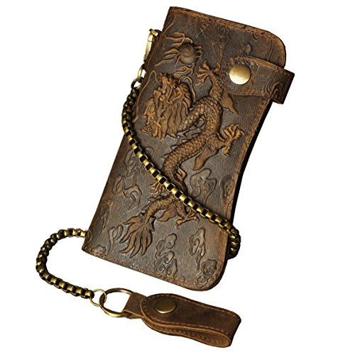 Le'aokuu Mens Genuine Leather Bifold Wallet Organizer Checkbook Iron Chain (1088 Dragon Light Brown)
