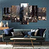 mmkow 5-Piece Painting Set of Framed Art Video Game Dying Light 2 Painting Canvas for Home Decoration 100x200cm (Frameless)