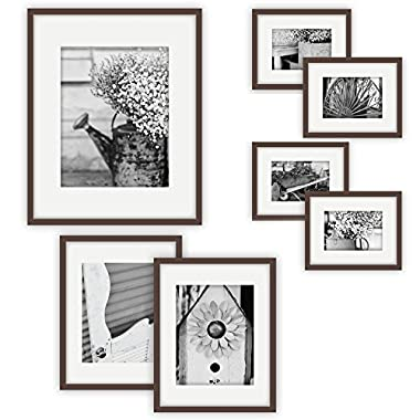 Gallery Perfect 7 Piece Walnut Photo Frame Wall Gallery Kit. Includes: Frames, Hanging Wall Template, Decorative Art Prints and Hanging Hardware