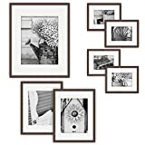 Gallery Perfect Gallery Wall Kit Photo Decorative Art Prints & Hanging Template Picture Frame Set, 7-Piece, Walnut, 7 Piece