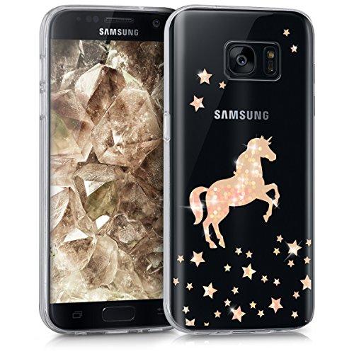 kwmobile Samsung Galaxy S7 Hülle - Handyhülle für Samsung Galaxy S7 - Handy Case in Einhorn Design Rosegold Transparent