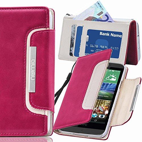 HTC Desire 728G Hülle, numia Handyhülle Handy Schutzhülle [Book-Style Handytasche mit Standfunktion & Kartenfach] Pu Leder Tasche für HTC Desire 728G Hülle Cover [Pink-Weiss]