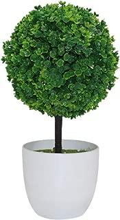 Braceus Artificial Topiary Ball Shape Bonsai, Potted Fake Plant Desk Ornament Home Decoration Green