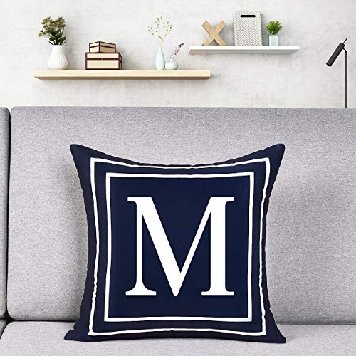 Alishomtll Alphabet Letter Cushion Covers, Pillow Case Soft Plush Pillow Decorative Pillow Cover, 18x18 Inch Cover Cushion Case Dark Blue 45 x 45cm (M)