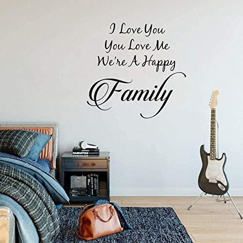 Pegatinas de pared para habitación de niños, sala de estar, dormitorio, pegatinas, te amo, me amas, somos felices, decoración de la pared familiar PVC57X55.1Cm