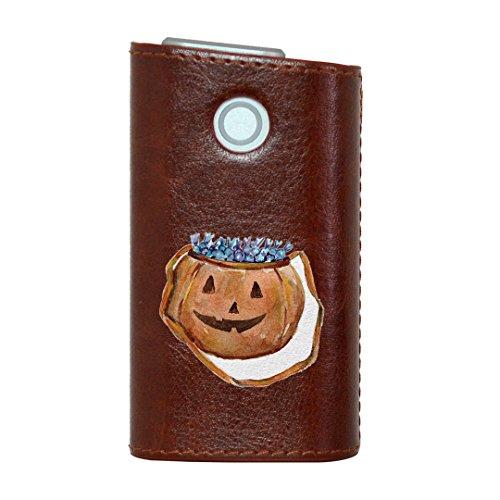 glo グロー グロウ 専用 レザーケース レザーカバー タバコ ケース カバー 合皮 ハードケース カバー 収納 デザイン 革 皮 BROWN ブラウン ハロウィン かぼちゃ 014709