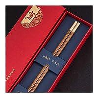 天然木製日本の寿司箸、丸い箸再利用可能なプレミアムギフト中国の箸18 Kゴールドメタルクラフト箸食器洗い機金庫-A-1pairs