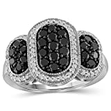 JEWELEXCESS Sterling Silver 1 Carat Black & White Diamond Ring for Women   Diamonds for Everyday Womens Wear