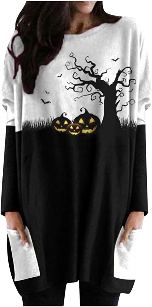 Women Hoodies Dress Christmas Halloween Cute Printed Long Sleeve Hooded Tunic Oversized Sweatshirt Pockets Pullover Jumper
