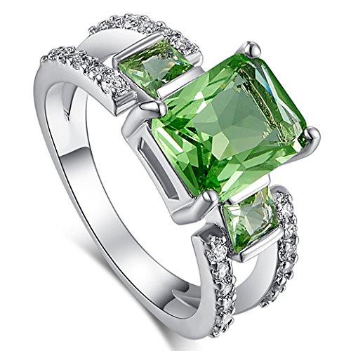 Narica Women's Charming Vintage Emerald Cut Green Amethyst CZ Wedding Ring Band