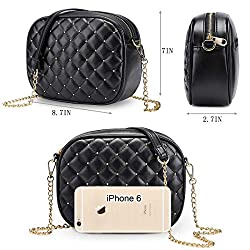Newshows Small PU Leather Crossbody Bag with Metal Chain Strap for Women