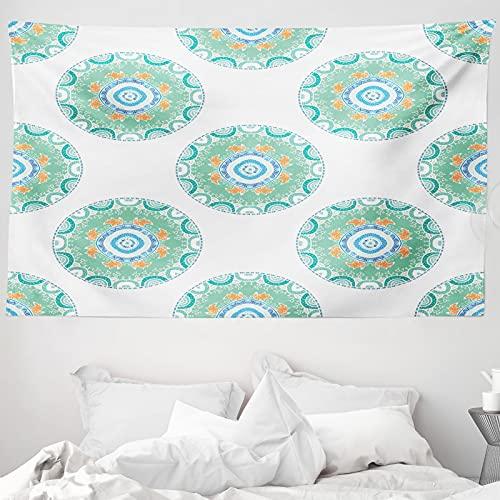 ABAKUHAUS Natur Wandteppich & Tagesdecke, Füchse im Wald, aus Weiches Mikrofaser Stoff Wand Dekoration Für Schlafzimmer, 230 x 140 cm, grün orange