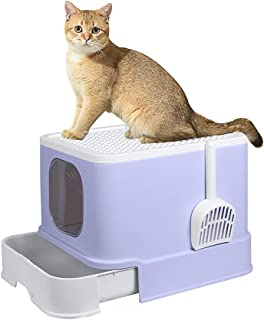 PaWz Cat Litter Box Fully Enclosed Toilet Trapping Odor Control Basin Purple