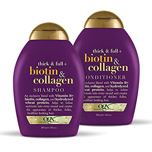 OGX Biotin & Collagen Set, 1 Shampoo + 1 Conditioner, 13 Ounces