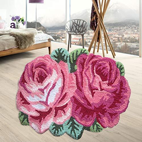Hughapy Pink Rose Flower Design Area Rugs Bedroom Living Room Mat Antiskid Doormat Carpet, 27.5 x 23.6 Inch
