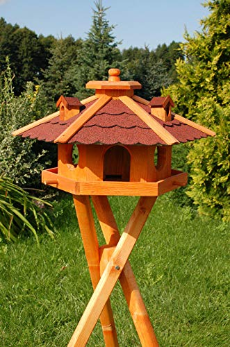 DEKO VERTRIEB BAYERN XXL Vogelhaus mit/ohne Solar/Ständer Holz Futterhaus Vogelfutterhaus Vogelvilla, Farbe: Rot + Solar + Ständer