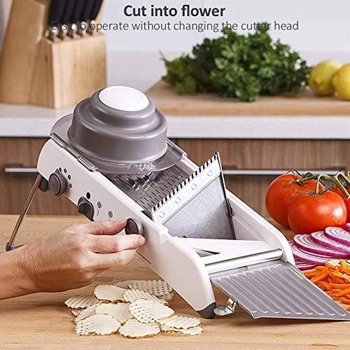 18 Types Adjustable Mandoline Slicer Stainless Steel Manual Cutter Vegetable Grater Julienne Slicer Fruit Waffle White
