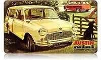 簡素な雑貨屋 Austin Mini Countryman アンティーク風 デザインボード ブリキ看板 メタル