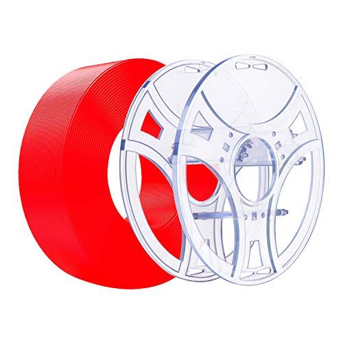 eSUN eSpool und PLA+ Refilament 1,75 mm Kit, abnehmbare und wiederverwendbare leere Spule, kompatibel mit PLA Plus 3D-Drucker, spulenloses Filament, 1 kg Rolle 3D-Drucker-Refilament, rot
