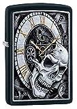 Zippo Skull Clock Design Black Matte Pocket Lighter