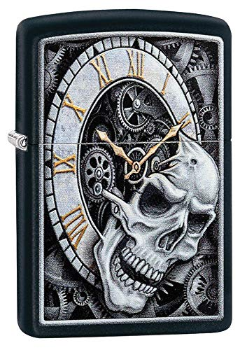 Zippo Skull Clock Design Black Matte Pocket Lighter