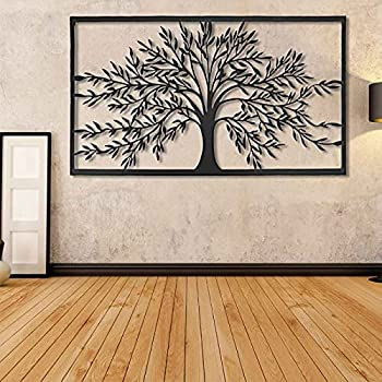 Ylight Metal Tree of Life Art Wall Decoration Geometric Tree of Life Silhouette Simple and Generous Tree of Life Sculpture Tree of Life Puzzle Wall Decoration